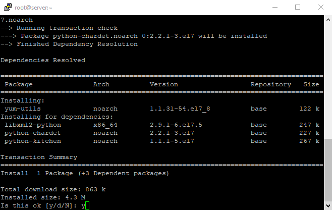 Install yum utils packages section 1 confirm 1