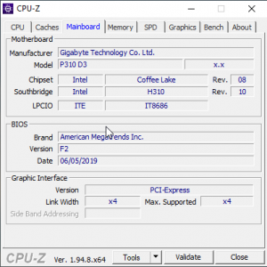 Motherboard details in CPU-Z