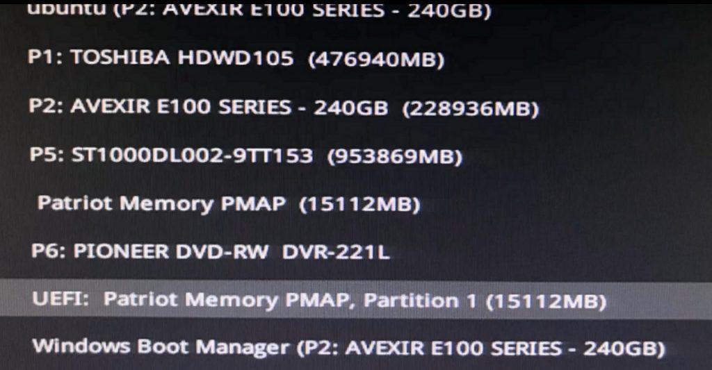 choose flash disk in bios