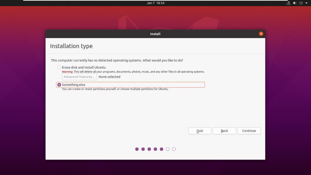 choose installation type when you install ubuntu beside windows 10