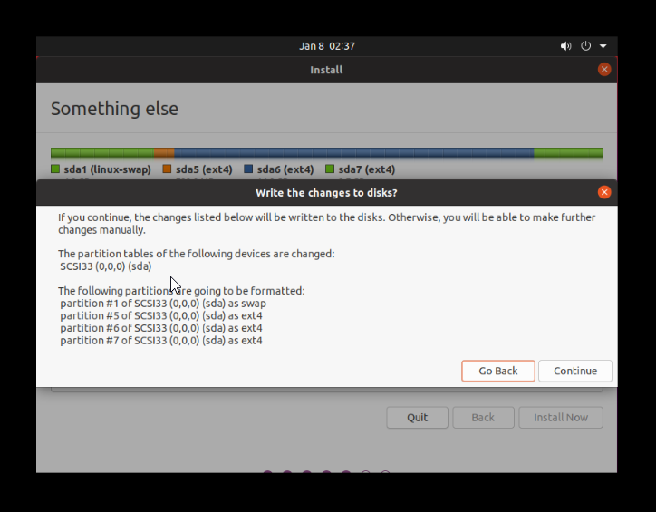 confirm to write the changes to the disk (2)
