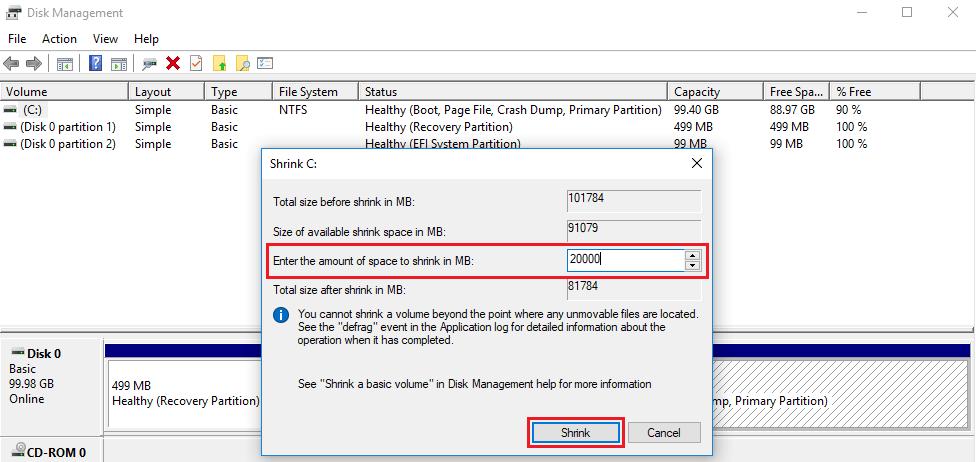 shrink resources when you install ubuntu beside windows 10