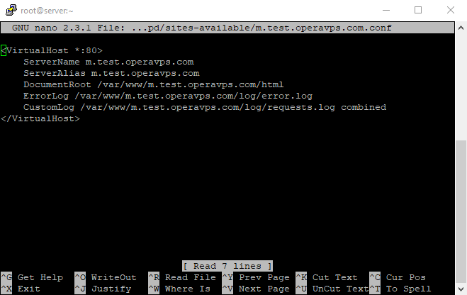 16 virtuall host 8th command nano config files