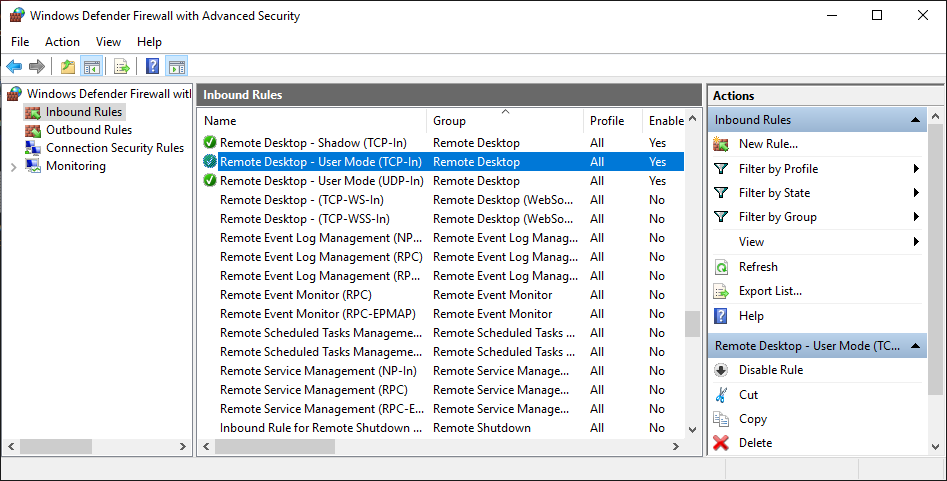 Enable remote desktop in firewall to allow RDP connection