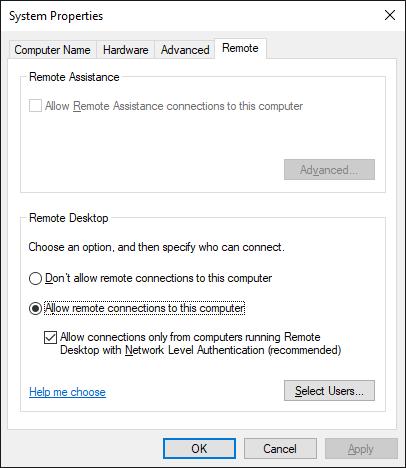 Windows remote setting system properties