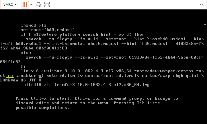 change arguments to reset pass in centos 7