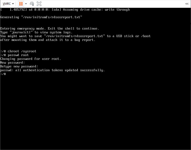 reset CentOS 7 server password in emergency mode