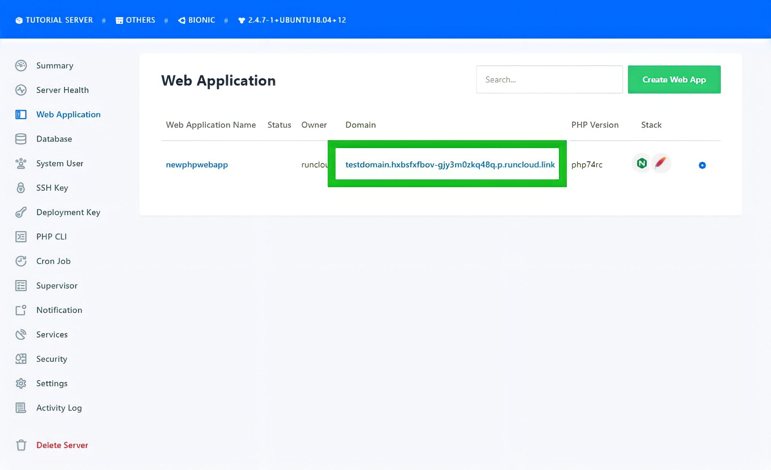 14 RunCloud PHP Web Application