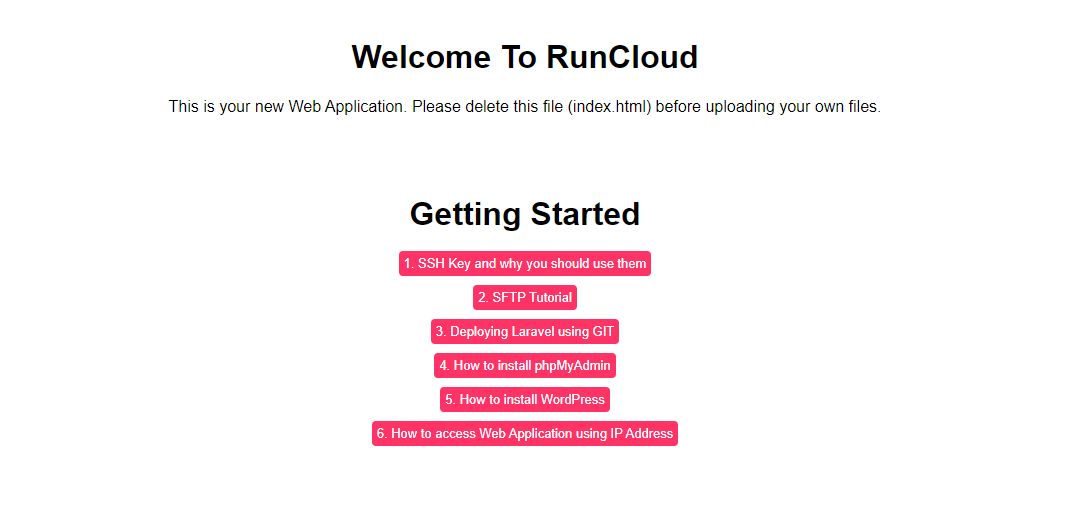 15 RunCloud PHP Web Application installed