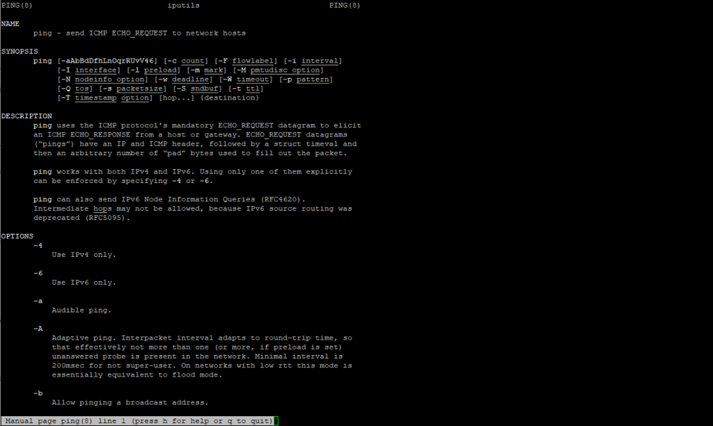 Linux Man Command Usage