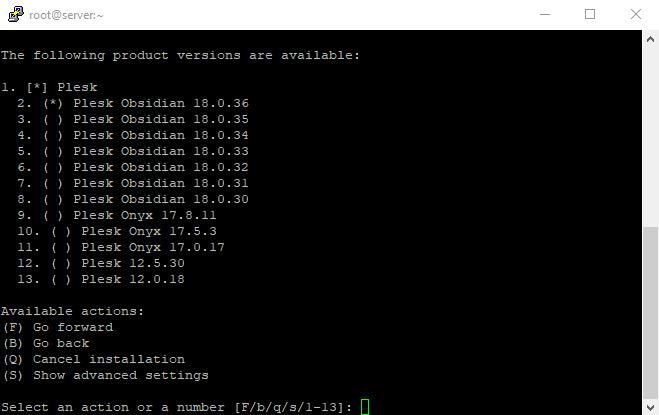 4 Plesk installer all versions selection on Linux VPS 1
