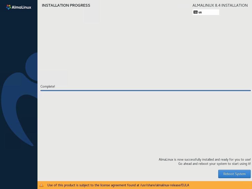 AlmaLinux Installation Finished