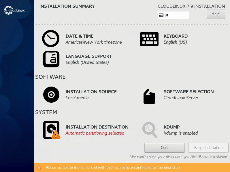 Configuration Partition When Installing Cloud Linux 7.9