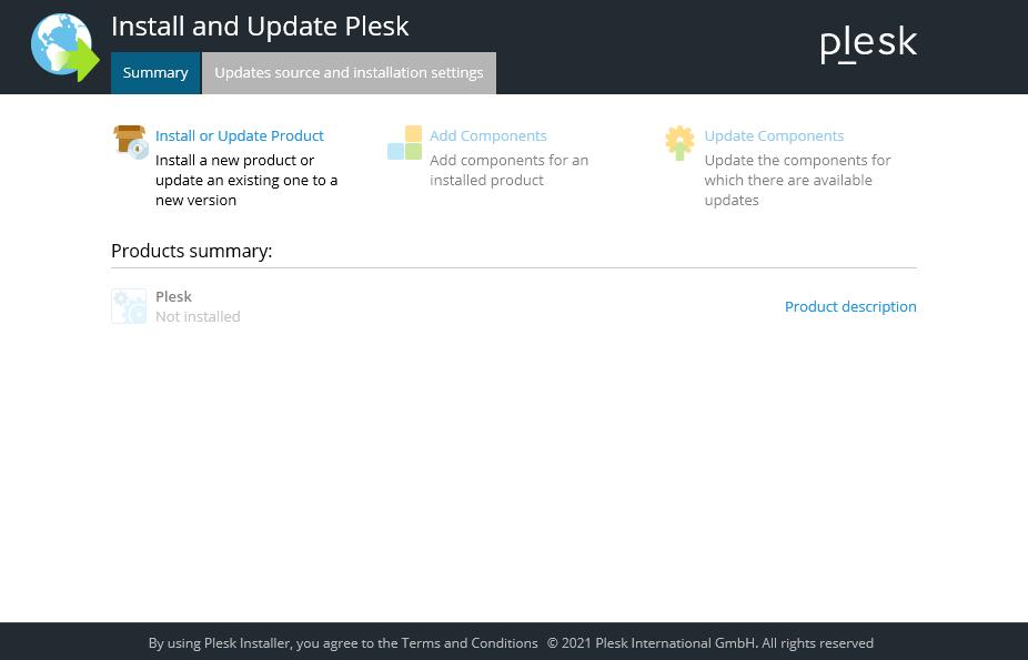 Plesk Installer 2nd section