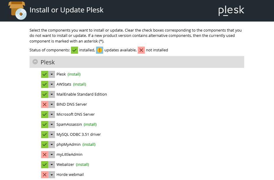 Plesk Installer Components installation